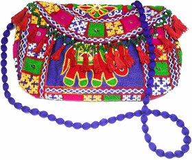 ETHNIC RAJASTHANI MULTI-COLOR EMBROIDERED PEARLS  BEADS CLUTCH / SLING BAG WITH TASSEL WOOLEN STRING