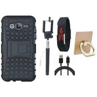 Vivo V5 Defender Tough Hybrid Shockproof Cover with Ring Stand Holder, Selfie Stick, Digtal Watch and USB Cable
