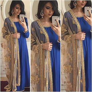 Greenvilla Designs Blue Georgette Anarkali Dress
