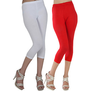 Raabta White and Red Cotton Lycra Capri for Women