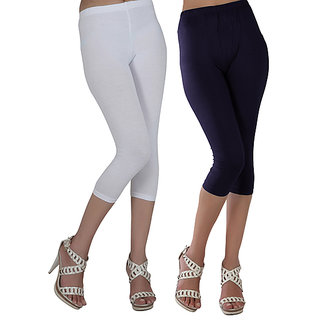 Raabta Black and White Cotton Lycra Capri for Women