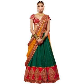 Greenvilla Designs Red And Green Banglori Silk Lehenga