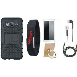 Nokia 8 Shockproof Tough Defender Cover with Ring Stand Holder, Free Digital LED Watch, Tempered Glass, Earphones and AUX Cable