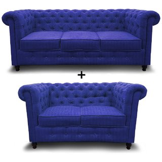houzzcraft chesterfield sofa set (3+2) blue