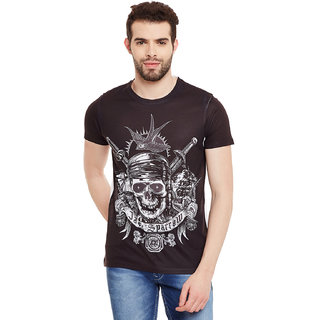Pirates of the Caribbean Men's Black Graphic Print Round Neck T-shirt