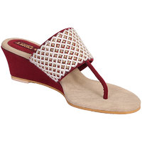 Red Women Fabric  Synthetic Port Wedges (utra 34)