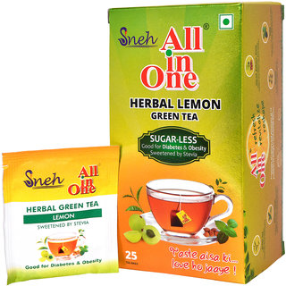 All in One Herbal Lemon  Green Tea Sugar -Less(25 Tea bags)