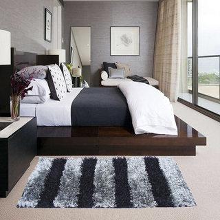 Black And Grey Shaggy Rug 2x5 Feet