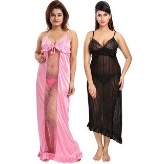 Be You Power Net Black-Pink Women Nighty Combo Pack of 2