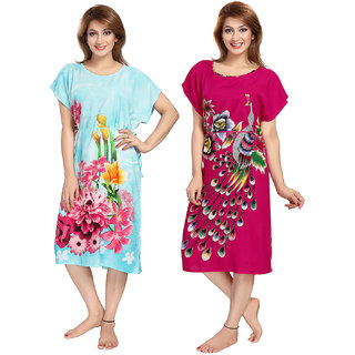 1b794f820f Buy Be You Rayon Blue-Pink Women Kaftan Combo pack of 2 Online ...