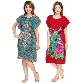 Be You Rayon Blue-Red Women Kaftan Combo pack of 2