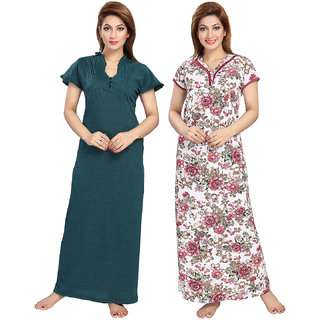 Be You Serena Satin Green-Maroon Women Nightgowns Combo Pack of 2