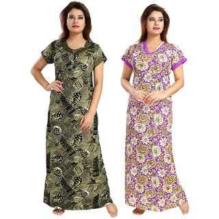 Be You Serena Satin Olive Green-Purple Women Nightgowns Combo Pack of 2