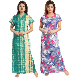 Be You Serena Satin Green-Blue Women Nightgowns Combo Pack of 2