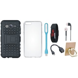 J5 Prime Defender Cover with Ring Stand Holder, Silicon Back Cover, Digital Watch, Earphones, USB LED Light and OTG Cable