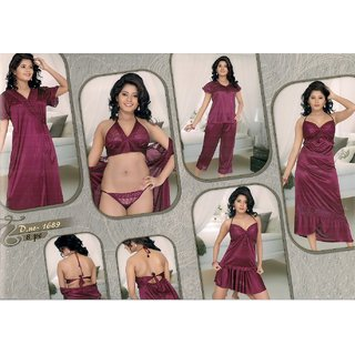Purple Plain Nightwear Sets (Pack Of 8)
