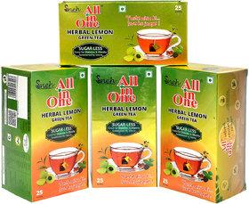 Pack Of 4 All in One Herbal Lemon  Green Tea Sugar -Less(100 Tea Bag )
