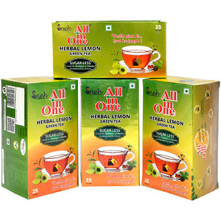 Pack Of 4 All in One Herbal Lemon Green Tea Sugar -Less(100 Tea Bag )