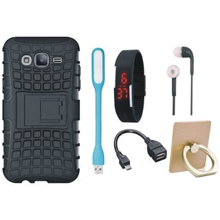 J5 Prime Shockproof Tough Armour Defender Case with Ring Stand Holder, Digital Watch, Earphones, USB LED Light and OTG Cable