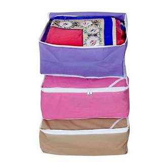 Fashion Bizz Regular Multi Saree Covers (3-in-1 Combo)