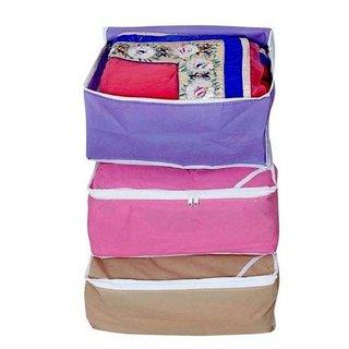 Fashion Bizz Regular Multi Saree Covers  3 in 1 Combo