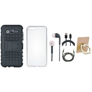 J5 Prime Shockproof Tough Armour Defender Case with Ring Stand Holder, Silicon Back Cover, Earphones, USB Cable and AUX Cable