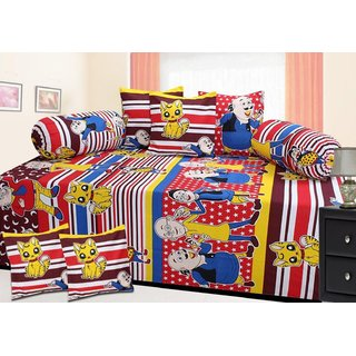 Attractivehomes Beautiful Cotton Diwan Set 1 Single Bedsheet With 5 Cushion Cover 2 Bolster Cover