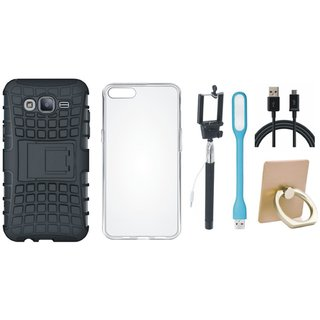 J5 Prime Shockproof Tough Defender Cover with Ring Stand Holder, Silicon Back Cover, Selfie Stick, USB LED Light and USB Cable
