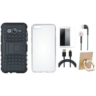 J5 Prime Shockproof Tough Defender Cover with Ring Stand Holder, Silicon Back Cover, Tempered Glass, Earphones and USB Cable