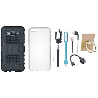 J5 Prime Shockproof Tough Defender Cover with Ring Stand Holder, Silicon Back Cover, Selfie Stick, Earphones, OTG Cable and USB LED Light
