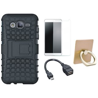 Nokia 3 Shockproof Kick Stand Defender Back Cover with Ring Stand Holder, Tempered Glass and OTG Cable