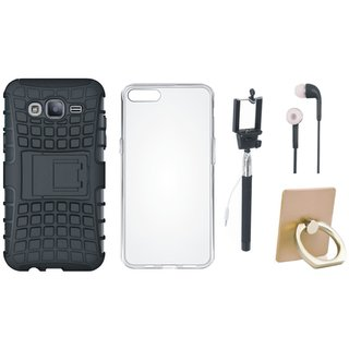 J5 Prime Shockproof Kick Stand Defender Back Cover with Ring Stand Holder, Silicon Back Cover, Selfie Stick and Earphones