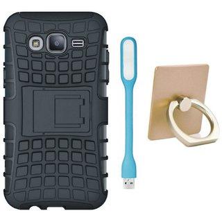 Nokia 3 Shockproof Kick Stand Defender Back Cover with Ring Stand Holder, USB LED Light