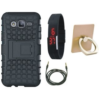 Nokia 3 Shockproof Kick Stand Defender Back Cover with Ring Stand Holder, Digital Watch and AUX Cable