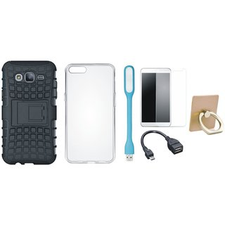 J5 Prime Shockproof Tough Defender Cover with Ring Stand Holder, Silicon Back Cover, Tempered Glass, USB LED Light and OTG Cable