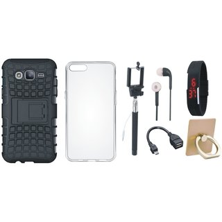 J5 Prime Defender Back Cover with Kick Stand with Ring Stand Holder, Silicon Back Cover, Selfie Stick, Digtal Watch, Earphones and OTG Cable