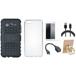 J5 Prime Shockproof Tough Defender Cover with Ring Stand Holder, Silicon Back Cover, Tempered Glass, OTG Cable and USB Cable