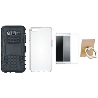 Nokia 3 Shockproof Kick Stand Defender Back Cover with Ring Stand Holder, Silicon Back Cover, Tempered Glass