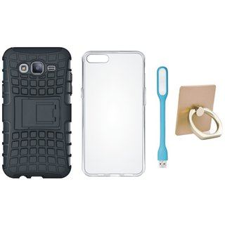 Nokia 3 Shockproof Kick Stand Defender Back Cover with Ring Stand Holder, Silicon Back Cover, USB LED Light