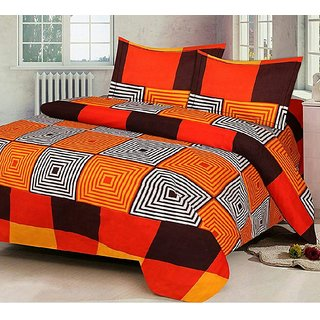 Reet Textile Orange Abstract Square Box Design Polycotton 220 X 216 Double Bedsheet With 2 Pillow Covers