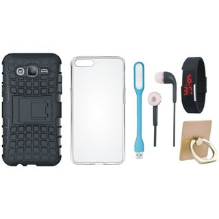 J5 Prime Shockproof Tough Defender Cover with Ring Stand Holder, Silicon Back Cover, Digital Watch, Earphones and USB LED Light