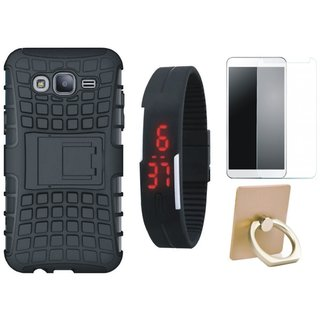 Nokia 3 Shockproof Kick Stand Defender Back Cover with Ring Stand Holder, Free Digital LED Watch and Tempered Glass