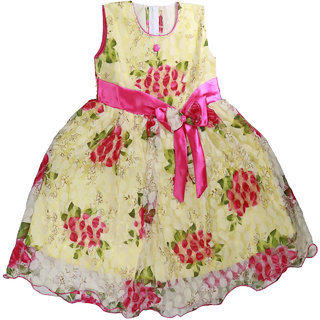 ShiRes Present Pink Color Party Wear Dess, Frock For 5-6 Years