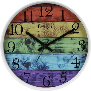 Evelyn Round Wall Clock With Glass For Home / Bedroom / Living Room / Kitchen Evc-030 (W)