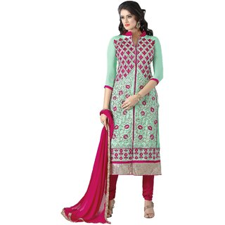 Aagaman Green Georgette Embroidered Salwar Suit Dress Material (Unstitched)