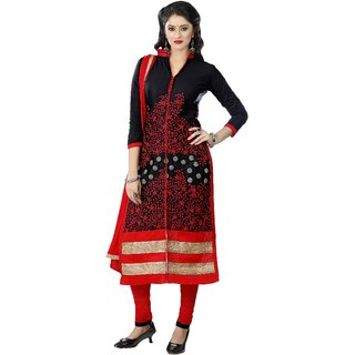Aagaman Glorious Black Colored Embroidered Blended Cotton Salwar Kameez (Unstitched)