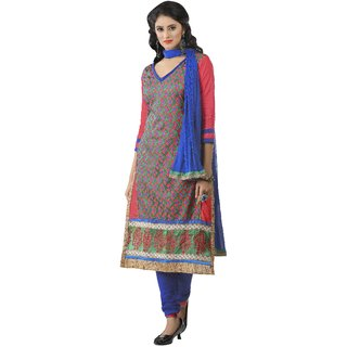 Aagaman Striking Multi Colored Embroidered Blended Cotton Salwar Kameez (Unstitched)