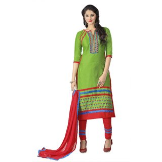 Aagaman Green Cotton Embroidered Salwar Suit Dress Material (Unstitched)