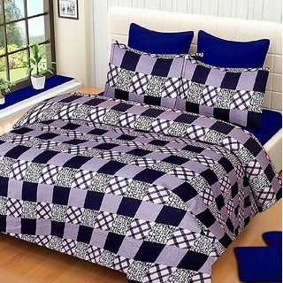 Reet Textile Blue Check Box Design Cotton Double Bedsheet With 2 Pillow Covers