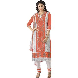 Aagaman White Cotton Embroidered Salwar Suit Dress Material (Unstitched)
